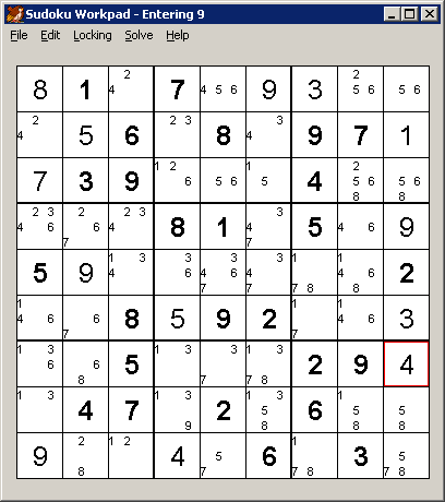 Sudoku puzzle in progress